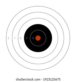 Circular shooting target with a marked bullseye for firing practice on a range