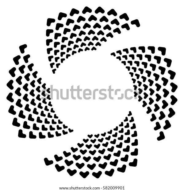 Circular spiral, geometric circle element isolated on white