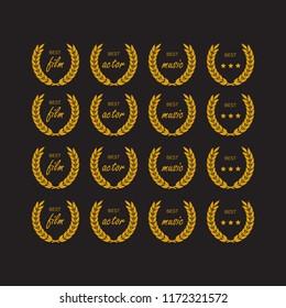 Circular winner emblems. medal and award icons set