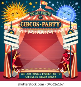 Circus Acrobatic Show Retro Template. Cartoon Poster Invitation. Birthday Party Insight. Carnival festival Background Cabaret Vintage Playbill. Juggler Acrobat Clown Performer performing Juggling.