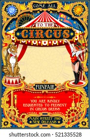 Circus animal trainer show Retro Template. Cartoon Poster Invite. Kids game Birthday Party Insight. Carnival festival Background Animal Lion Tiger Cabaret Vintage background. Animal Tamer theme design