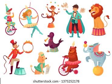 Circus animals. Animal acrobatic tricks, circus family acrobat entertainment. Animals lion, dog and elephant performance with circus magician. Cartoon  isolated illustration icons set