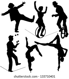 Circus Artist Silhouette on white background. Raster version with clipping paths