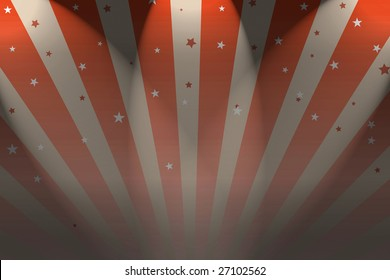 A Circus Big top style background with spotlights.