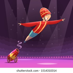 Circus cannon show. Shooting gun on cirque arena performer clowns on stage cartoon background
