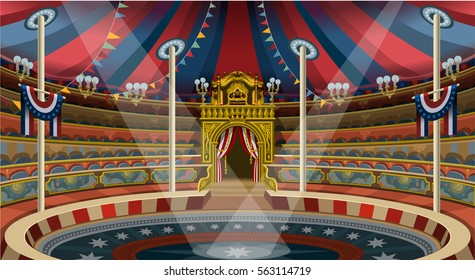 Circus carnival tent marquee. Amusement family theme park circus banner poster invite set. Creative circus design image illustration collection