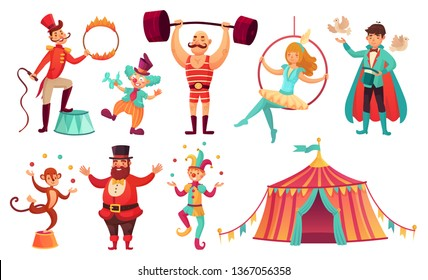 Circus characters. Juggling animals, juggler artist clown and strongman performer. Clowns comedian, juggling jester performer, magician and monkey. Cartoon  illustration isolated icons set