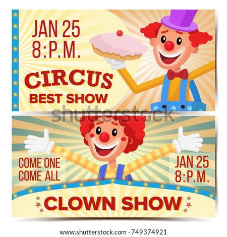 circus clown horizontal banners template great stock illustration
