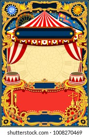 Circus editable frame. Vintage template with circus tent for kids birthday party invitation or post. Quality illustration.