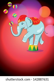 Circus elephant balancing on stand. Bright poster background.