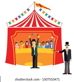 Circus event with children and circus director