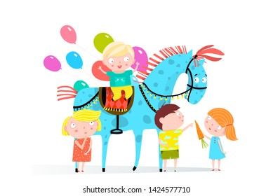Circus Horse and Kids Holiday. Fun Group of little kids playing with circus horse and balloons. Raster variant