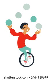 Circus juggler ride unicycle illustration. Funny juggler character cartoon hand drawn icon isolated on white background