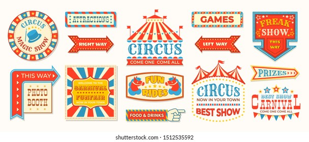Circus labels. Carnival retro banner signs, vintage magic frames and arrows elements, welcome the show greetings. circus signs logo collection