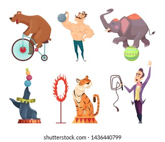 Circus mascots. Clouns, performers, juggler and other characters of circus. Strongman performance, elephant and bear. illustration