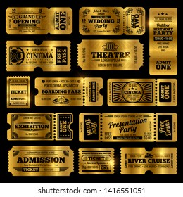 Circus, party and cinema vintage admission tickets templates. Golden tickets isolated on black background. Ticket of collection in vintage style, admission to theate and exhibition illustration