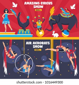 Circus performers horizontal banners set with flat dancing animals equilibrists hanging air acrobats with more button  illustration