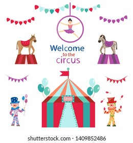 circus set. clowns and horse and tent on white background