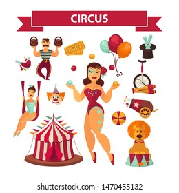 Circus show performance elements and accessories.  isolated retro stage flat icons set of tent, magician and equilibrist, lion and magic hat with rabbit, joggling pins and bicycle