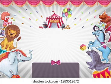 Circus, show, performance. Watercolor illustration with funny animals and artists, templatefor poster, banner, card.