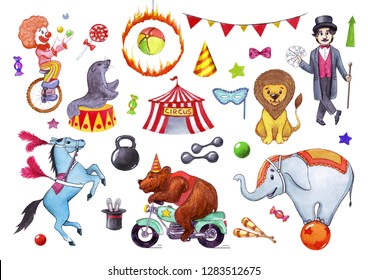 Circus, show, performance. Watercolor illustration set of elements for postcards, posters, business cards, banners. Isolated on white background.