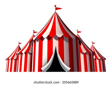 Circus tent design element as a group of big top carnival tents with an opening entrance as a fun entertainment icon for a theatrical celebration or party festival isolated on a white background.