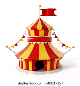 Circus tent isolated on white background. 3D illustration.