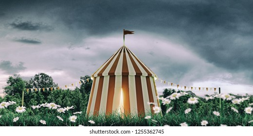 circus tent on a huge field 3d illustration