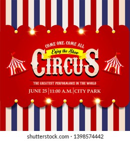 Circus ticket. Carnival banner. Event pass