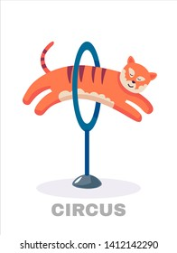 Circus tiger jumping through flaming hoop.  illustration. Isolated on white background.