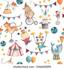 Circus watercolor baby animals illustration seamless  pattern  tile