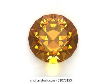Citrine gemstone isolated on white background