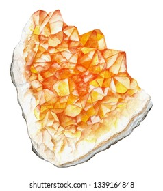Citrine watercolor cluster gem. Solar plexus chakra stone and healing crystal. Hand drawn illustration of gemstone isolated on white background