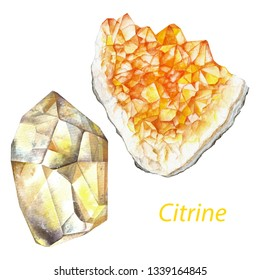 Citrine watercolor gems. Solar plexus chakra stones and healing crystals. Hand drawn illustration of gemstones isolated on white background