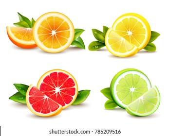 Citrus fruits halves and quarter wedges 4 realistic icons square with orange grapefruit lemon isolated  illustration