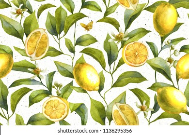 Citrus fruits. Lemon background. Floral wallpaper.