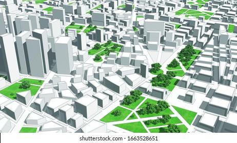 City 3D Model. Buildings, Roads and Parks. 3D Illustration.
