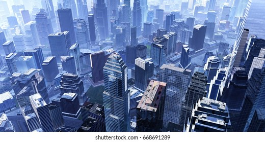 City from above, city landscape in fog from bird's eye view, 3d rendering