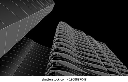 city abstract architecture 3d illustration background