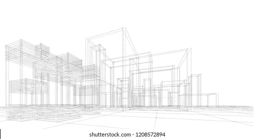 city architecture abstract, 3d illustration