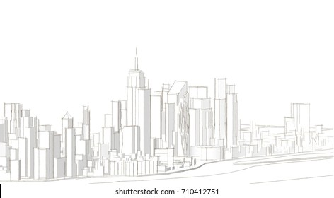 city, architecture abstract, 3d illustration