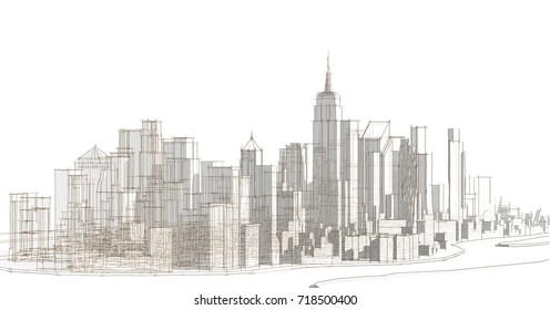 city, architecture abstract,  background, texture, 3d illustration