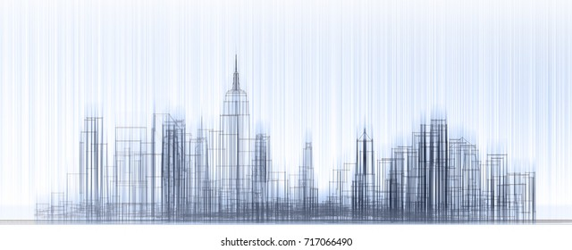 city, architecture abstract, texture, background, rain, 3d illustration