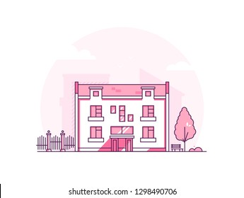 City architecture - modern thin line design style illustration on white background. Pink colored high quality composition with two storey building, tree, bench, fence. Urban, suburban landscape