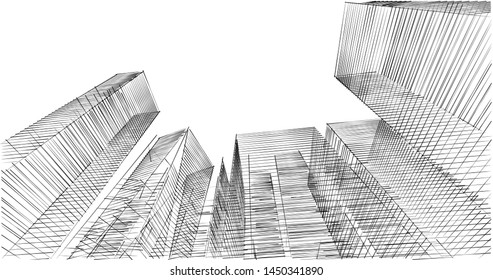 city architecture sketch 3d illustration