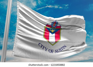 City of Austin Flag Waving, Texas, United States of America, Blue Sky, 3D Illustration