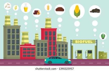 City bio fuel icons set. Outline set of city bio fuel icons for web design isolated on white background
