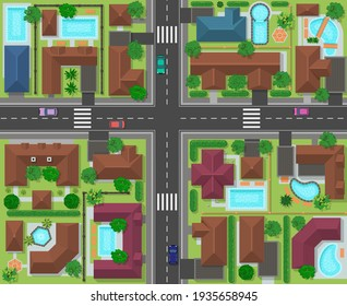City block top view. Town street panorama with houses, gardens, trees and roads, city landscape infrastructure  illustration. Top view city map