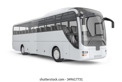 City bus with blank surface for your creative design. 3D illustration.