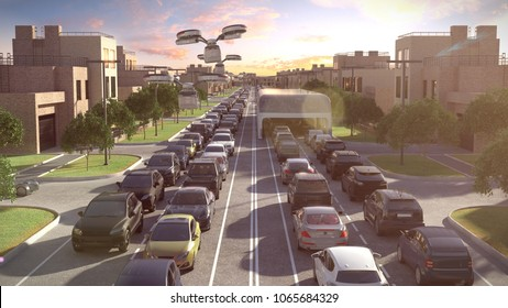 City bus of the future. The traffic jam. Sunset time. 3d illustration.